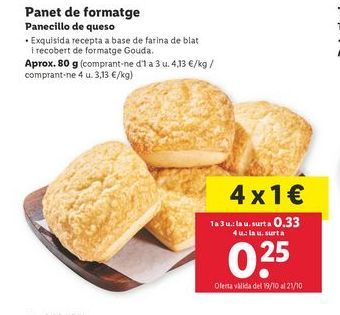 Oferta de Panecillo de queso por 0,33€