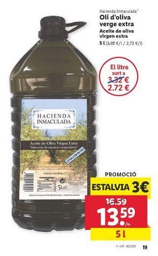 Oferta de Aceite de oliva virgen extra 5 l Hacienda Inmaculada por 13,59€