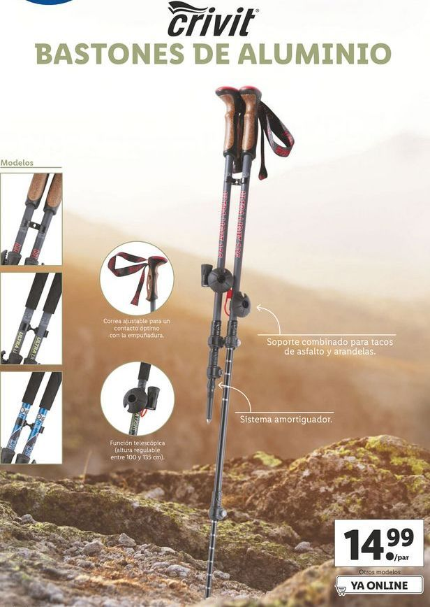 Oferta de Bastónes de trekking Crivit por 14,99€