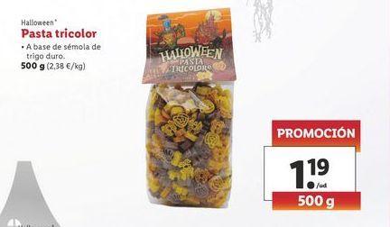 Oferta de Pasta tricolor 500 g Halloween por 1,19€