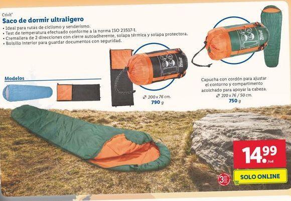 Oferta de Saco de dormir ultraligero Crivit por 14,99€