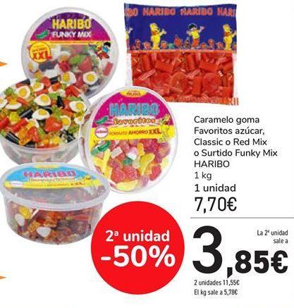Oferta de Caramelo goma Favoritos azúcar, Classic o Red Mix o Surtido Funky Mix Haribo  por 7,7€
