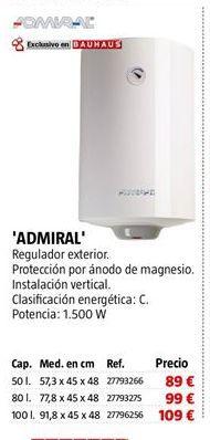 Oferta de Termo eléctrico admiral por 89€