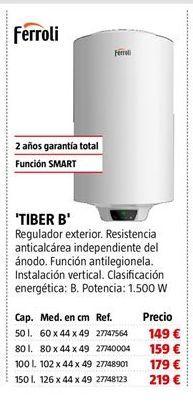 Oferta de Termo eléctrico Ferroli por 149€