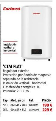 Oferta de Termo eléctrico Corberó por 199€