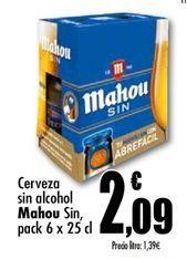 Oferta de Cerveza sin alcohol Mahou por 2,09€