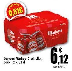 Oferta de Cerveza Mahou por 6,12€