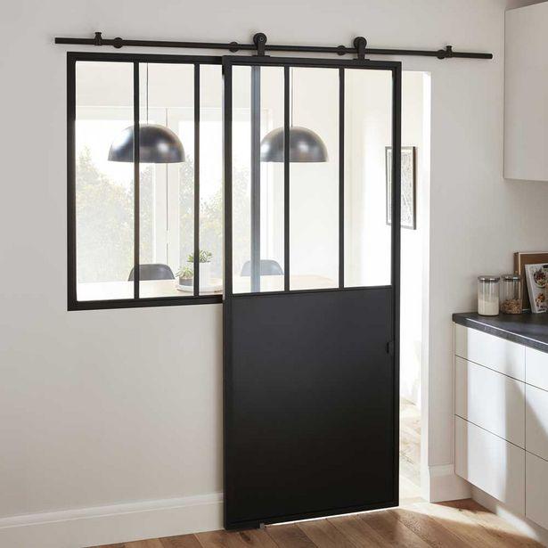 Oferta de Puerta industrial corredera acristalada lacada negra 204 x 83 cm por 199€