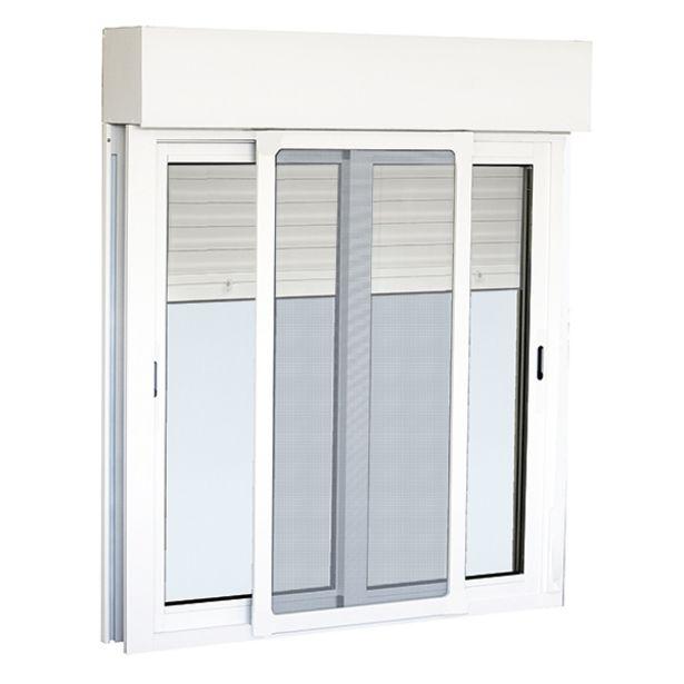 Oferta de Ventana de aluminio corredera con mosquitera y persiana 116 x 120 cm por 145€