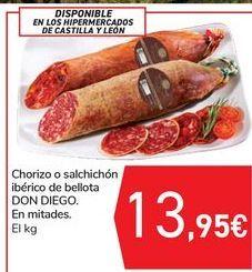 Oferta de Chorizo o salchichón ibérico de bellota DON DIEGO por 13,95€