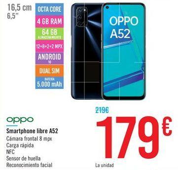 Oferta de Smartphone libre A52 oppo por 179€