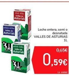 Oferta de Leche entera, semi o desnatada VALLES DE ASTURIAS por 0,59€