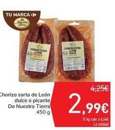 Oferta de Chorizo sarta de León dulce o picante De Nuestra Tierra por 2,99€