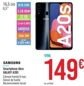 Oferta de Smartphone libre SAMSUNG GALAXY A20S por 149€