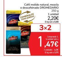 Oferta de Café molido natural, mezcla o descafeinado DROMEDARIO por 2,2€