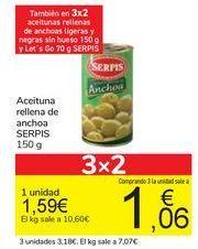 Oferta de Aceituna rellena de anchoa SERPIS por 1,59€