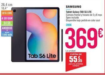 Oferta de Tablet Galaxy TAB S6 LITE por 369€