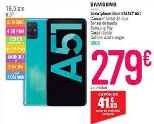 Oferta de Smartphone libre GALAXY A51 por 279€