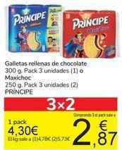 Oferta de Galletas rellenas de chocolate 300 g. Pack 3 unidades (1) o Maxichoc 250 g. Pack 3 unidades (2) PRÍNCIPE por 4,3€