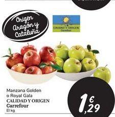 Oferta de Manzana Golden o Royal Gala CALIDAD Y ORIGEN Carrefour por 1,29€