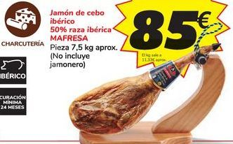 Oferta de Jamón de cebo ibérico 50% raza ibérica MAFRESA por 85€
