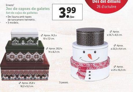 Oferta de Set de cajas de galletas por 3,99€