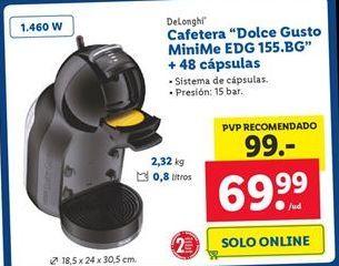 """Oferta de Cafetera """"Dolce Gusto MiniMe EDG 155.BG"""" + 48 cápsulas por 69,99€"""