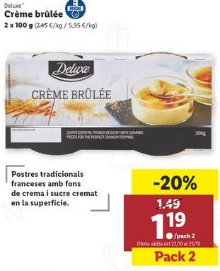 Oferta de Créme brûlée Deluxe por 1,19€