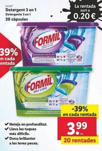 Oferta de Detergente 3 en 1 20 cápsulas Formil por 3,99€