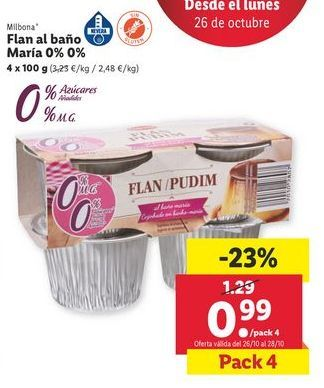 Oferta de Flan al baño María 0% 0% Milbona por 0,99€