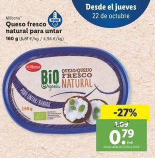 Oferta de Queso fresco natural para untar Milbona por 0,79€