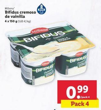 Oferta de Bífidus cremoso de vainilla Milbona por 0,99€