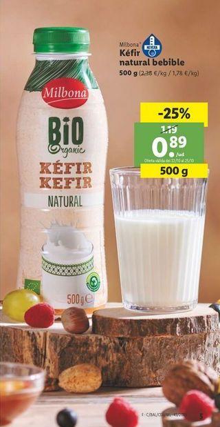 Oferta de Kéfir natural bebible Milbona por 0,89€