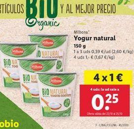 Oferta de Yogur natural Milbona por 0,39€