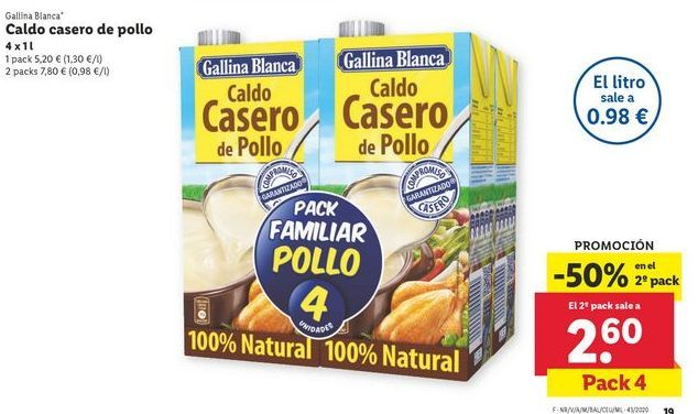 Oferta de Caldo casero de pollo Gallina Blanca por 5,2€