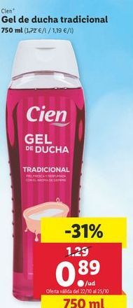 Oferta de Gel de ducha tradicional Cien por 0,89€