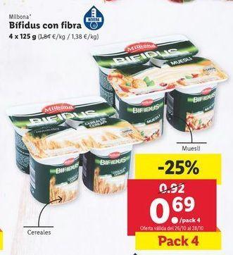 Oferta de Bífidus con fibra Milbona por 0,69€