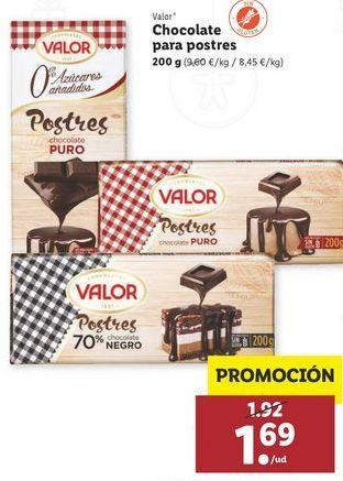 Oferta de Chocolate para postres Valor por 1,69€