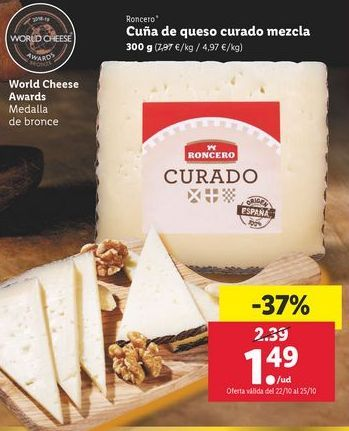 Oferta de Cuña de queso curado mezla Roncero por 1,49€