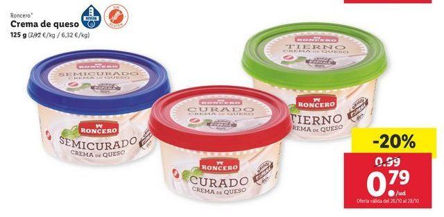 Oferta de Crema de queso Roncero por 0,79€