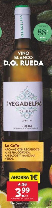 Oferta de Vino blanco D.O. RUEDA VEGA DEL PAS por 3,99€