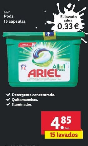 Oferta de Pods 15 cápsulas Ariel por 4,85€