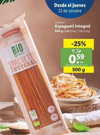 Oferta de Espagueti integral Combino por 0,59€