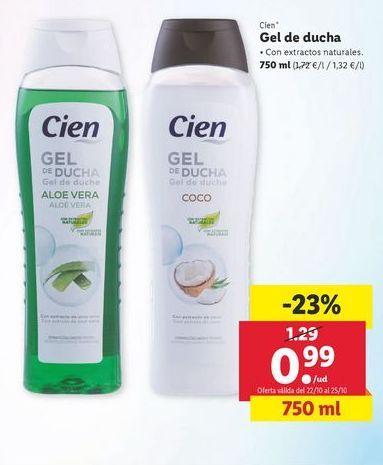 Oferta de Gel de ducha Cien por 0,99€