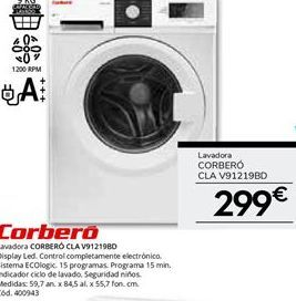 Oferta de Lavadora CORBERO CLA V91219BD por 299€