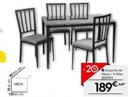 Oferta de Conjunto mesa y 4 sillas de cocina BERRY por 189€