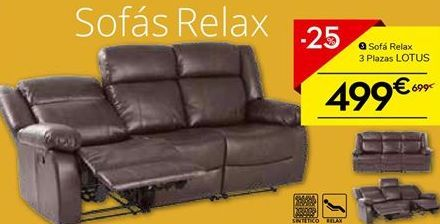 Oferta de Sofá relax 3 plazas LOTUS por 499€