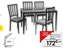 Oferta de Conjunto mesa y 4 sillas de cocina BERRY por 172€