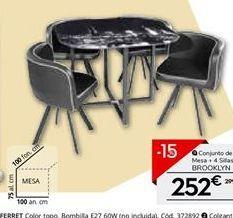 Oferta de Conjunto mesa y 4 sillas BROOKLYN por 252€