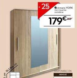 Oferta de Armario 2 puertas correderas con espejo YORK por 179€